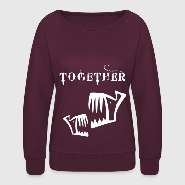 fish together piranha fish bone fishing rod skull - Women's Crewneck Sweatshirt