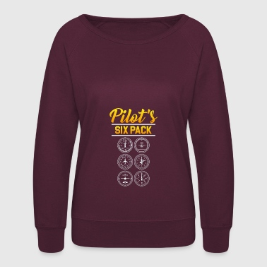 Pilot's Six Pack Aviation Aircraft Gift Idea - Women's Crewneck Sweatshirt