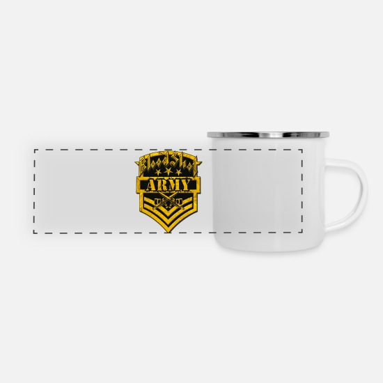 Army Mugs & Drinkware - BloodShot ARMYLogo Gold /Black - Panoramic Enamel Mug white