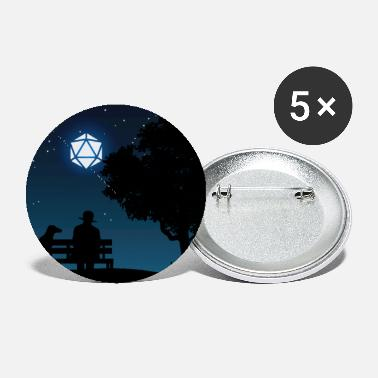 Man with Dog D20 Dice Moon Night Tabletop RPG - Small Buttons