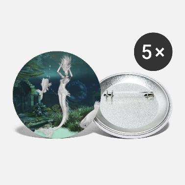 Fantasy Wonderful mermaid with fantasy fish - Small Buttons