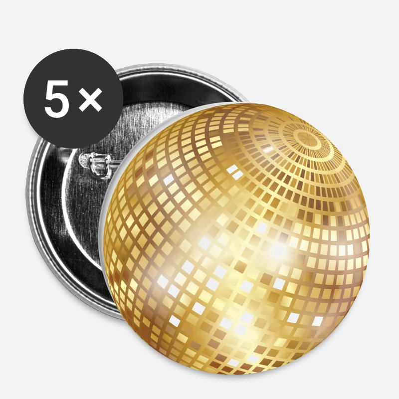 Disco Buttons - Disco Ball / Mirror Ball Glitter (Gold, PNG) - Small Buttons white
