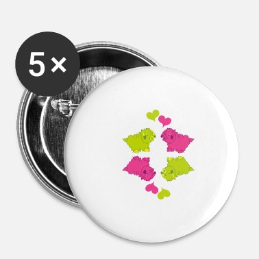 Cute dog pattern pink and green - Small Buttons