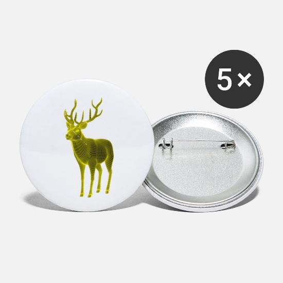 Stag Buttons - Deer polygon - Small Buttons white