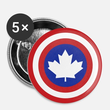 Captain Canada Shield 2 Colour - Buttons small 1'' (5-pack)