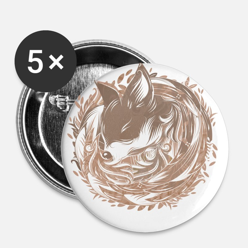 Sleeping Buttons - a fox at the Burrow - Small Buttons white