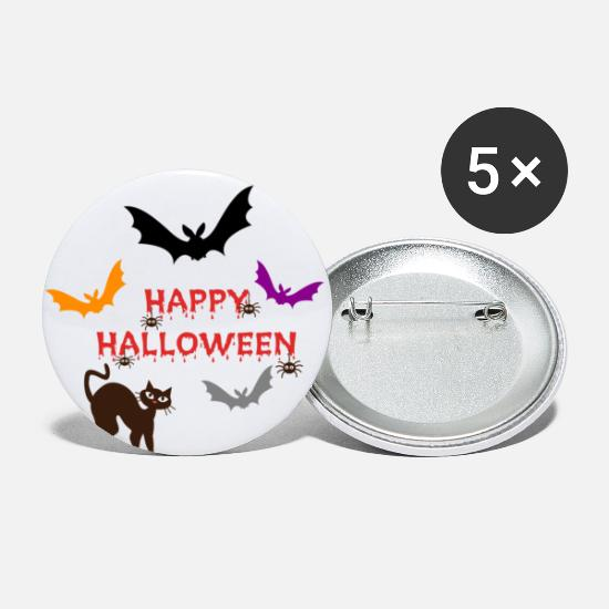 Wicca Buttons - HAPPY HALLOWEEN - Small Buttons white