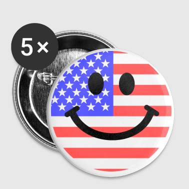 American flag smiley face - Small Buttons