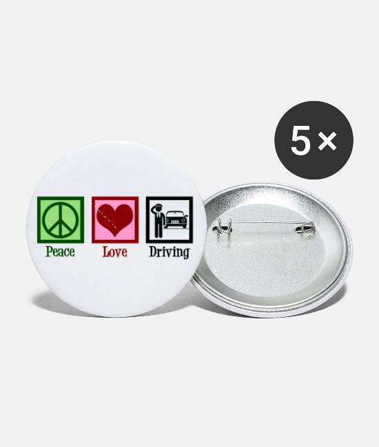 Pilot Buttons & Pins - Peace Love Driving - Small Buttons white