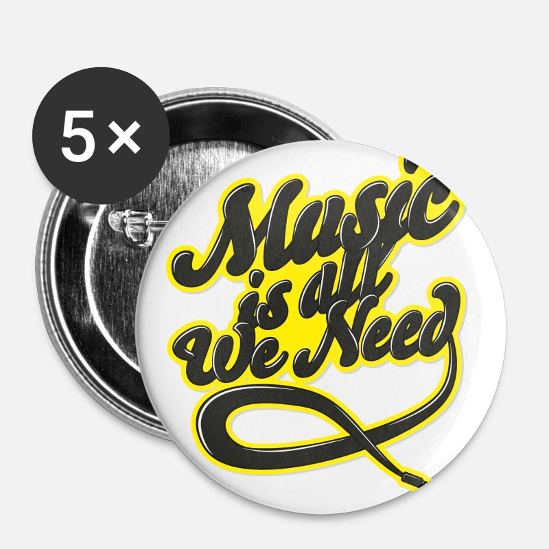 Valentine's Day Buttons - Music Is All We Need - Small Buttons white