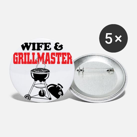 Wife Buttons - wife and grillmaster - Small Buttons white