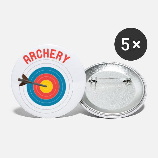 Arrow And Bow Buttons - Archery Bullseye Target Bow & Arrow Archer - Small Buttons white