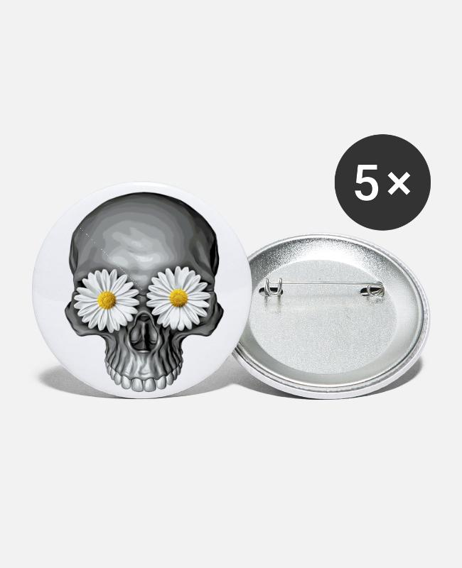 Creepy Buttons & Pins - daisy skull - Small Buttons white