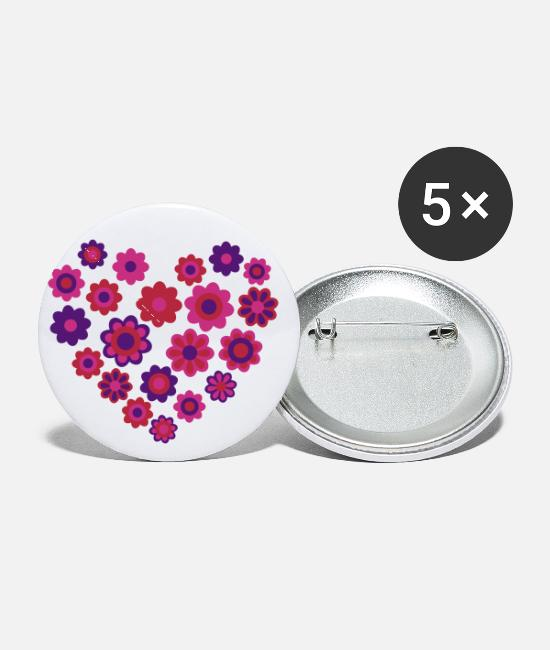 Heart Buttons & Pins - Blossom Heart by Cheerful Madness!! - Small Buttons white