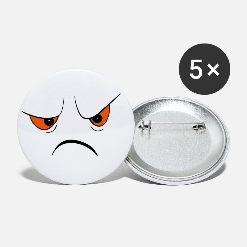 Angry Face Buttons small 1'' (5-pack) - white
