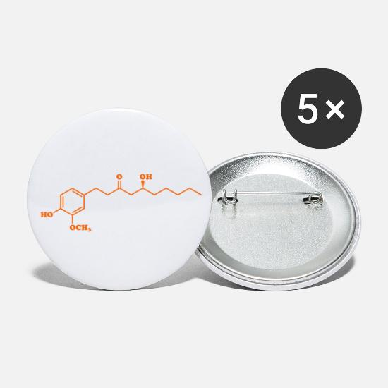 Ginger Buttons - Ginger Gingerol Molecule Chemical Formula - Small Buttons white
