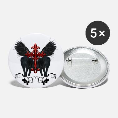 Wings Cross Awesome black wolf with cross and wings - Small Buttons