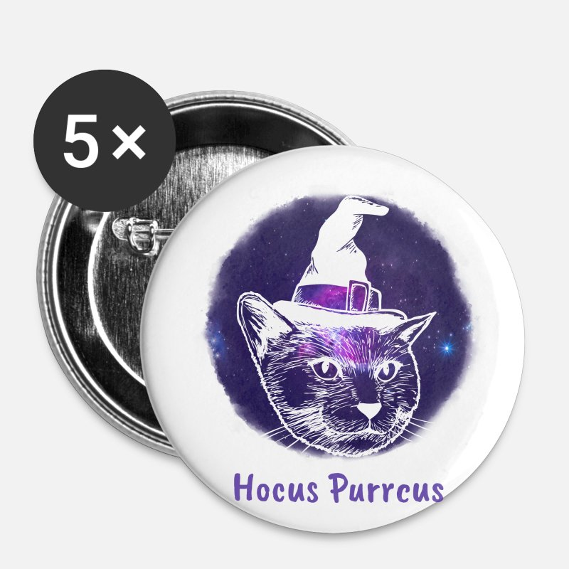 Magic Buttons - Hocus Purrcus | Witch Kitten - Small Buttons white