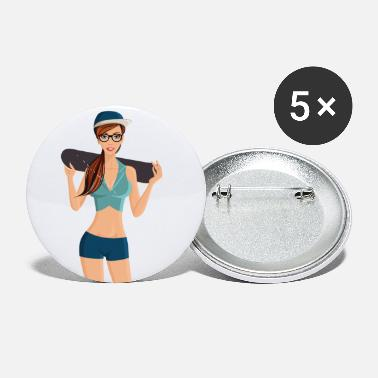 Skater Skater Girl Skateboard - Small Buttons