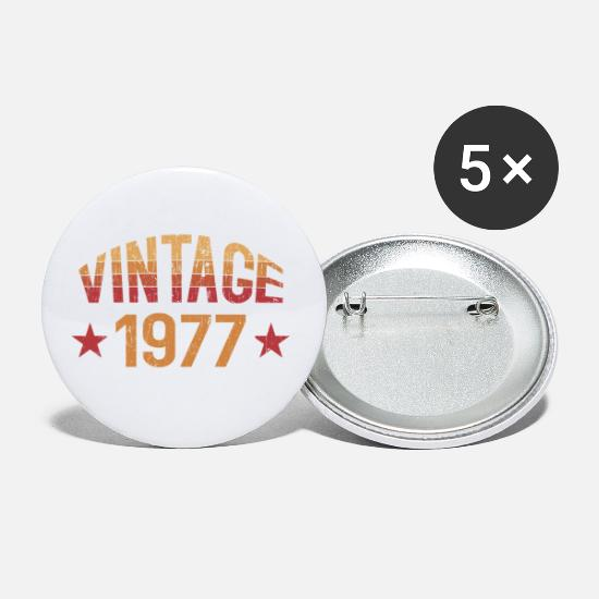 Birthday Buttons - Vintage 1977 - Small Buttons white