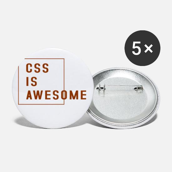 css is awesome brown Buttons small 1'' (5-pack) - white