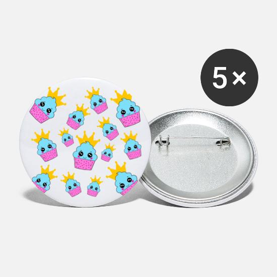 Golden Crown Buttons - cute smiling cupcakes with golden crowns pattern - Small Buttons white
