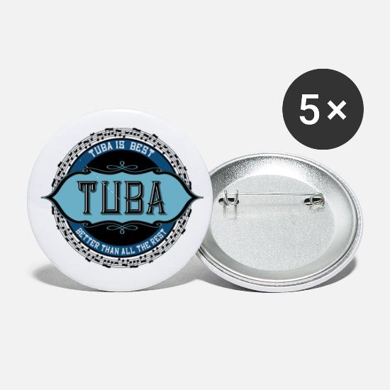 Black Buttons - Tuba Is Best Black Music Notes - Small Buttons white