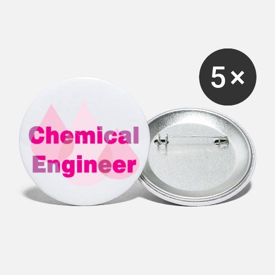 Chemistry Buttons - Chemical Engineer Pink Drops - Small Buttons white