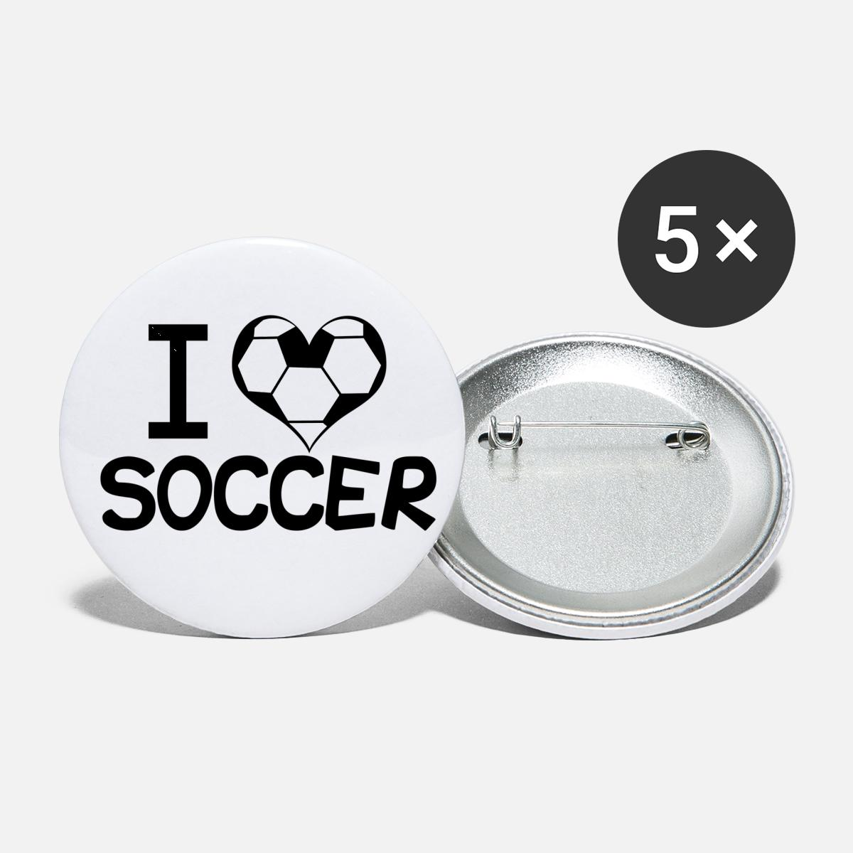 I Love Soccer Small Buttons   white