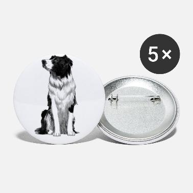 Dog Lover Sitting Border Collie Dog - Small Buttons