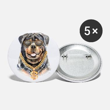Necklace Rottweiler dog watercolor with chain necklace - Small Buttons