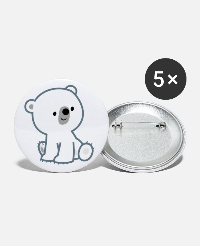 Cub Buttons & Pins - Sweet Cartoon Polar Bear Cub by Cheerful Madness!! - Small Buttons white