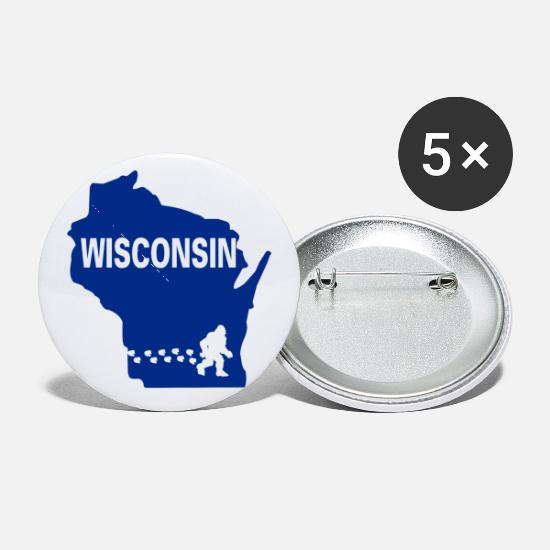 Wisconsin Buttons - Bigfoot Wisconsin Map State Gift - Small Buttons white