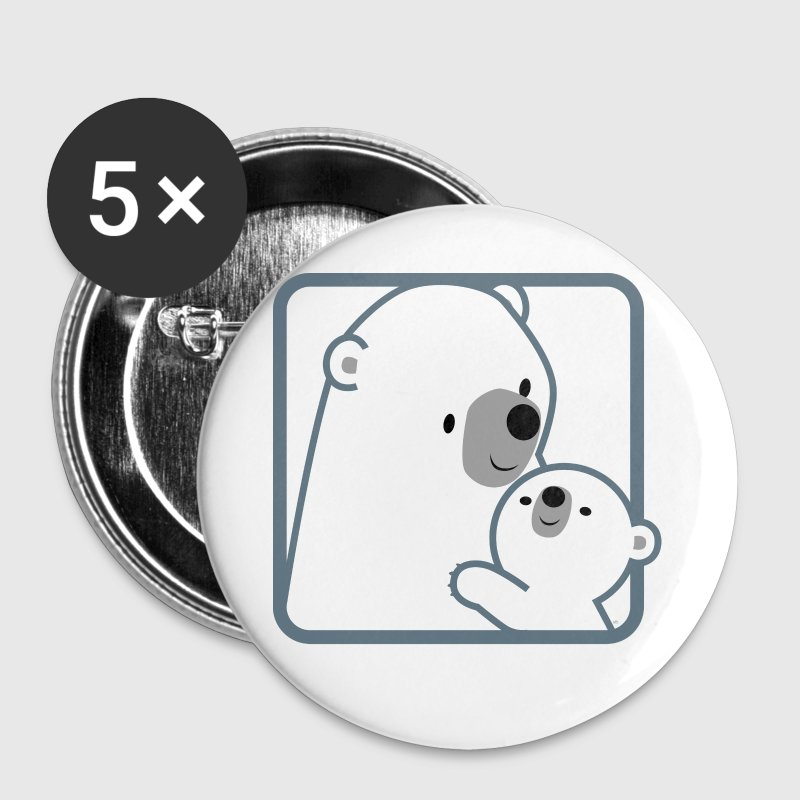Cartoon Mum Polar Bear And Cub by Cheerful Madness - Small Buttons
