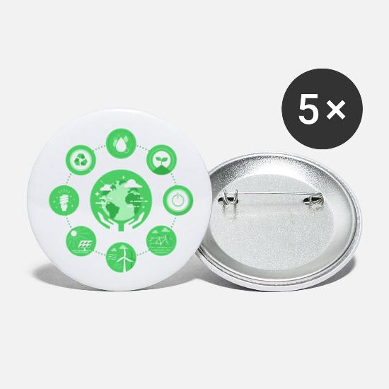Nature Buttons - earth 1 F - Small Buttons white