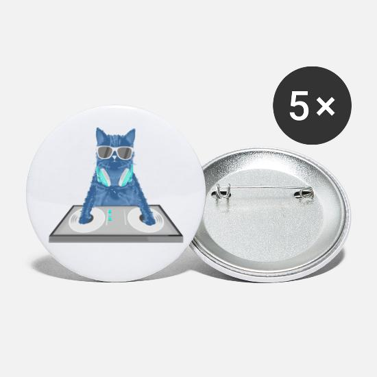 Furry Buttons - Cat Disc Jockey Kitty DJ Graphic Funny - Small Buttons white