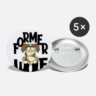 funny Yoga Meditation Wolf Dog Design - Small Buttons