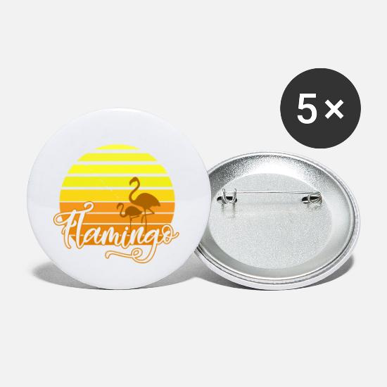 Flamingo Buttons - Flamingo Beach Sunset Holiday Summer Beach Sun - Small Buttons white