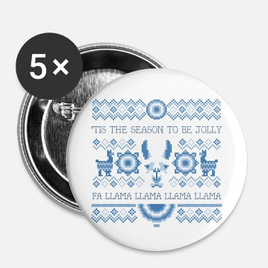 Fa Llama Llama | Funny Deck the Halls Alpaca - Small Buttons