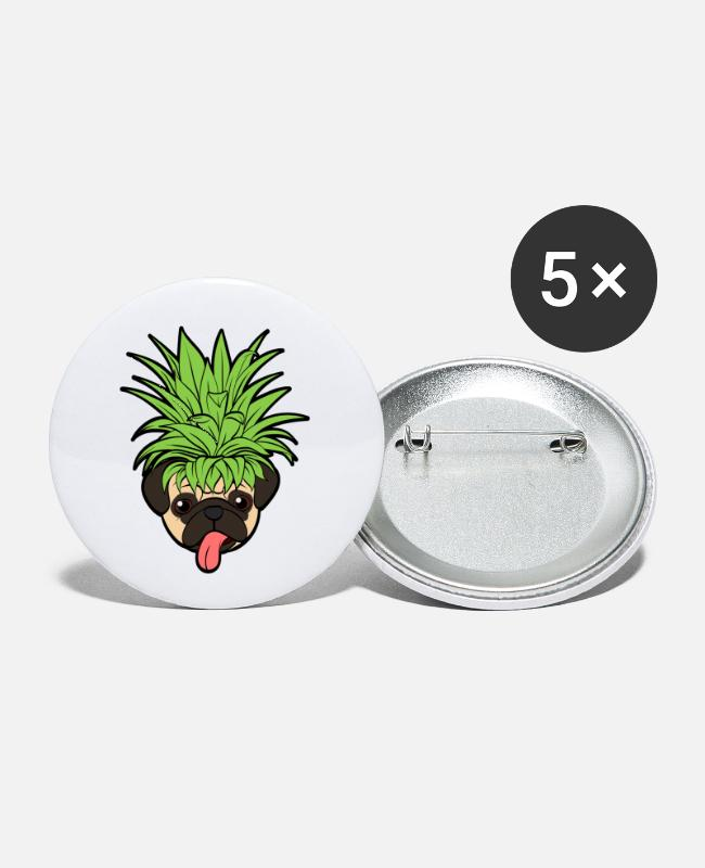 Sphere Buttons & Pins - Fruit Cool Pineapple Graphic Tshirt Pug Hawaiian - Small Buttons white