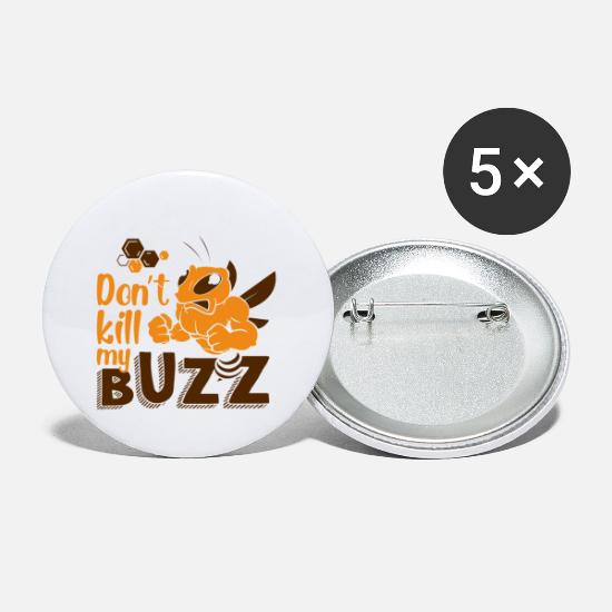 Bee Buttons - Bee Muscles Nature Earth Day Bee Gift - Small Buttons white