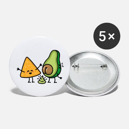 Turd Buttons - Avocado turd Tortilla chips guacamole shit vegan - Small Buttons white