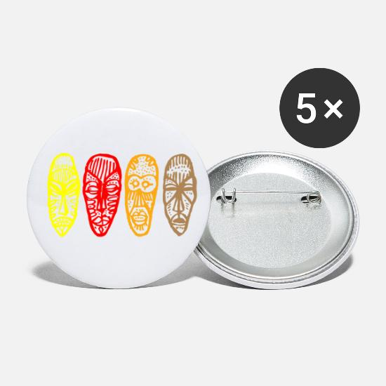 African American Buttons - african mask - Small Buttons white