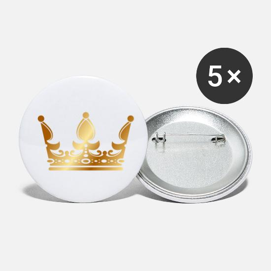 Rap Buttons - golden crown the king of rap drawing graphic arts - Small Buttons white
