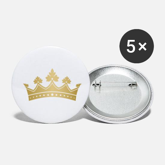 Jewel Buttons - Royal golden crown monarch VIP vector art - Small Buttons white