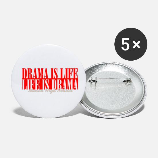 Game Buttons - Drama Is Life Life Is Drama Mason High School - Small Buttons white