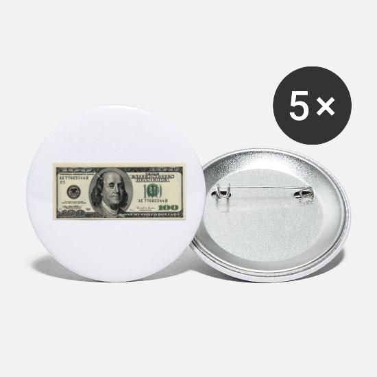 Dollar Buttons - 100 Dollar Bill - Small Buttons white