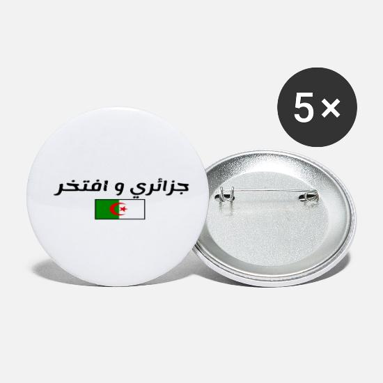 Flag Buttons - Algerian and Proud - Small Buttons white