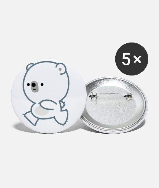 Cub Buttons & Pins - Cute Lively Polar Bear Cub by Cheerful Madness - Small Buttons white