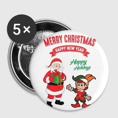 Christmas Xmas Elf Elves Santa Claus Nicholas - Small Buttons